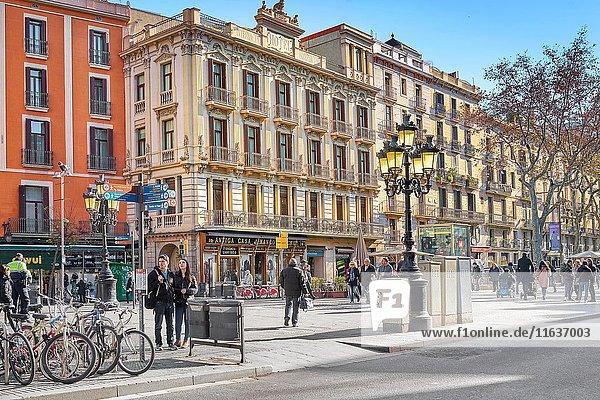 La Rambla Street  Barcelona  Catalonia  Spain.