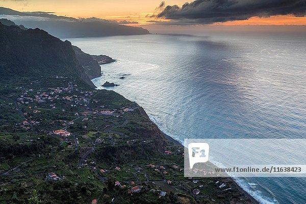 Arco De São Jorge on north coast Madeira seen from Miradouro Beira da Quinta  Madeira  Portugal.