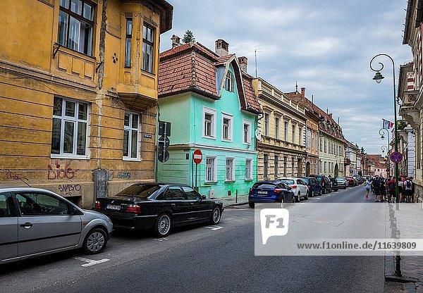 Tenement houses at Schei Gate Street in Brasov  Romania.