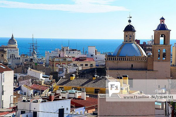 Panoramic view of the city and cathedral church of San Nicolás de Bari in Alicante  Valencia  Spain