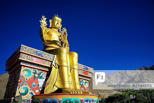 India  Jammu and Kashmir State  Himalaya  Ladakh  Indus valley  Buddhist monastery of Likir and the 23m-high statue of Maitreya Buddha (future Buddha)