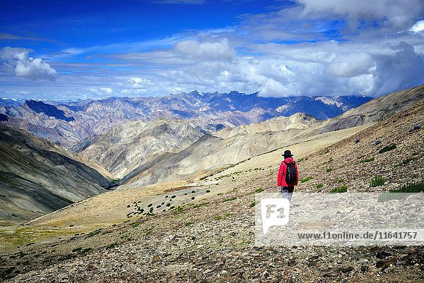 India  Jammu and Kashmir State  Himalaya  Ladakh  Hemis National Park  Markha valley trek  hiker crossing the Ganda La pass (4961m)  Model Released