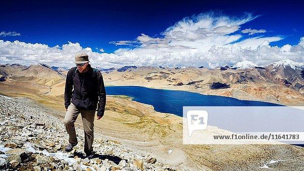 India  Jammu and Kashmir State  Himalaya  Ladakh  high-altitude plateau of Changthang (Changtang)  trekker on the slopes of Mentok Kangri (6250m) and Tso Moriri lake (4530m)  Model Released