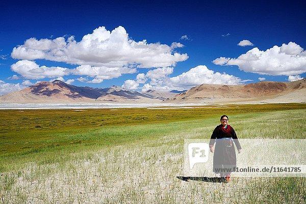 India  Jammu and Kashmir State  Himalaya  Ladakh  high-altitude plateau of Changthang (Changtang)  Rupshu valley  woman wearing a goncha (Ladakhi traditional dress) near Tso Kar lake  Model Released