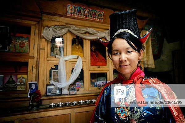 India  Jammu and Kashmir State  Himalaya  Ladakh  Ladakhi woman wearing clothes with a hat  Model Released