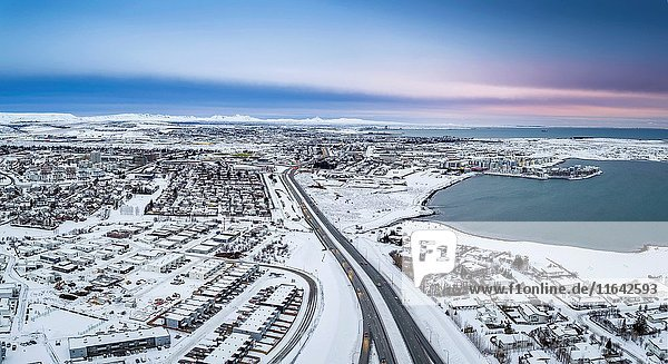 Winter-Arnarnes and Gardabaer suburbs of Reykjavik  Iceland. This image is shot using a drone.