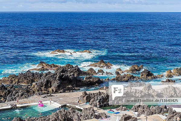 Natural swimming pools at Porto Moniz  North Coast of Madeira  Portugal.