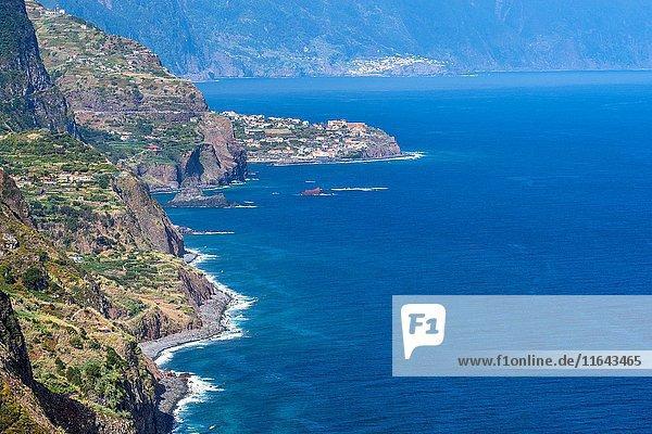 Arco De São Jorge on north coast Madeira seen from Vigia viewpoint  Madeira  Portugal.