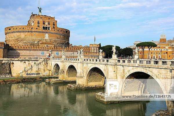 Castel Sant Angelo  with the bridge Pont Sant Angelo across the River Tiber in Parco Adriano district  Rome  Italy.