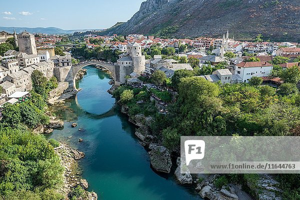Aerial view on Mostar Old Town and most famous city landmark Stari Most (Old Bridge) over Neretva river  Bosnia and Herzegovina.