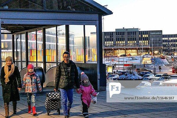 STOCKHOLM  SWEDEN Suburb of Flemingsberg. Street scenes.