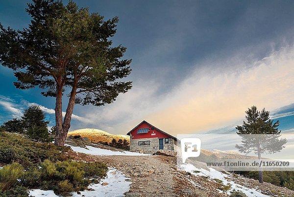 The Pingarron refuge in the Sierra de Guadarrama. Madrid. Spain. Europe.