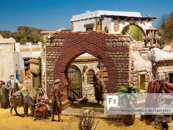 Christmas  Nativity scene  Religion. Cathedral church  Costa del Sol  Malaga. Andalusia southern Spain. Europe.