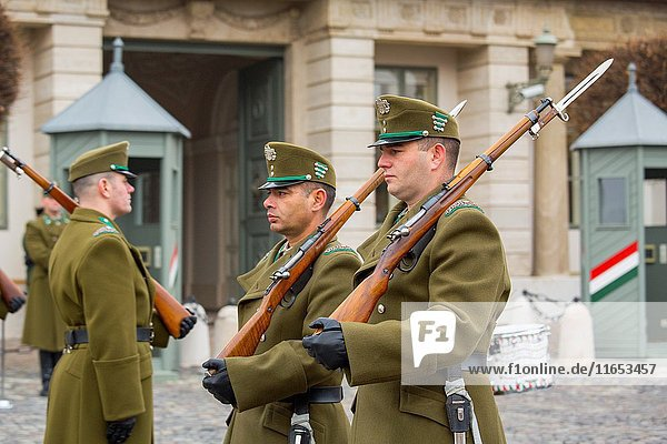 Changing of the guard  Presidential Palace Sandor  Buda Castle Hill District. Budapest Hungary  Southeast Europe.