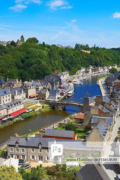 Dinan  River Rance  Harbour  Stone Bridge  Côtes d'Armor Department  Bretagne  Brittany  Chateulin distict  France.