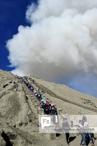 Steam coming from the crater of mount Bromo Java Indonesia.