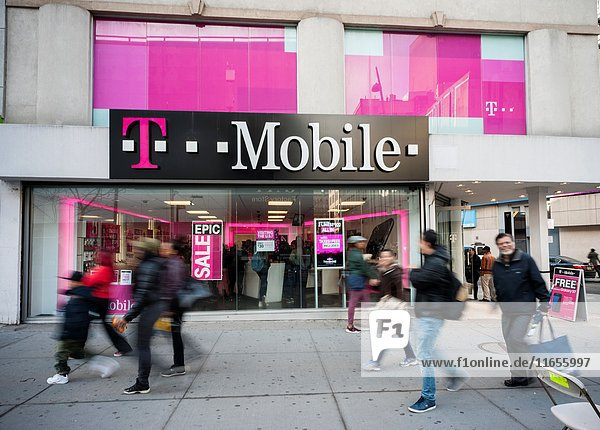 A T-Mobile mobile phone store in Downtown Brooklyn in New York