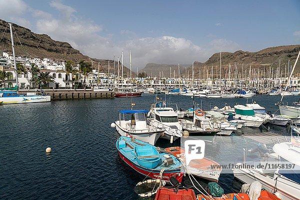 Harbour of Puerto de Mogan  Gran Canaria  Canary Islands  Spain.