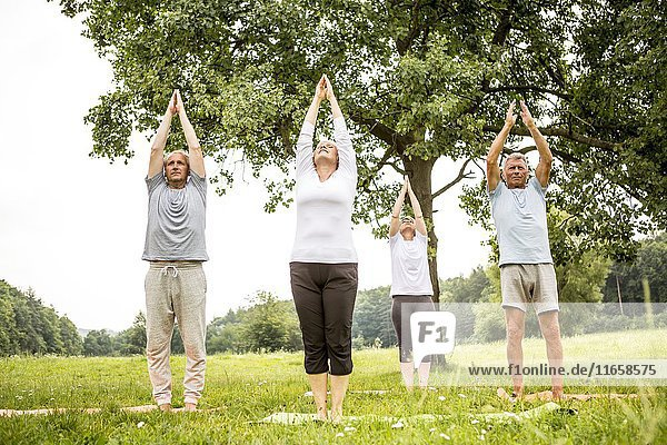 Four people doing yoga in field.