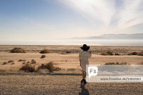 Rückansicht einer Frau mit Sonnenhut  die von hinten auf die Wüste schaut  Salton Sea  Kalifornien  USA