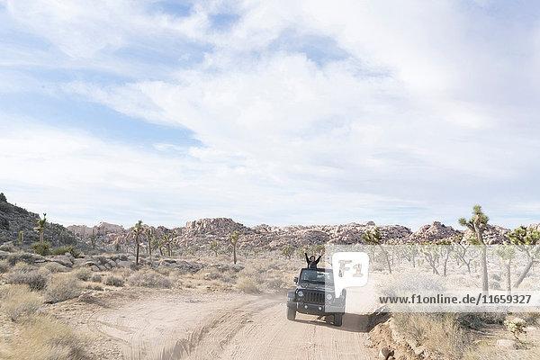 Älteres Ehepaar im Geländewagen in der Wüste  Joshua-Tree-Nationalpark  Palm Springs  Kalifornien  USA