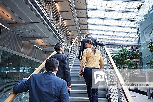 Rückansicht der Geschäftsfrau und der Männer  die die Bürotreppe hinaufgehen