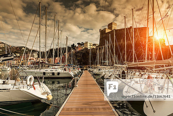 View of waterfront yachts and castle at sunset  Lerici  Liguria  Italy