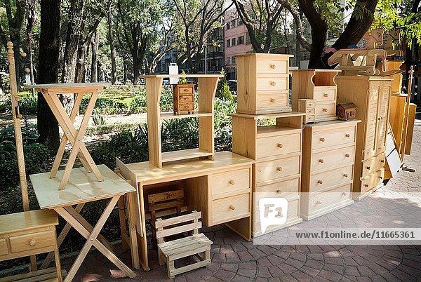 Furniture in Parque Mexico in Mexico City  Mexico.