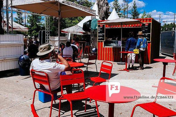 People sitting at a colourful icecream shop terrace  Nantes  Loire-Atlantique  Pays de la Loire  France.