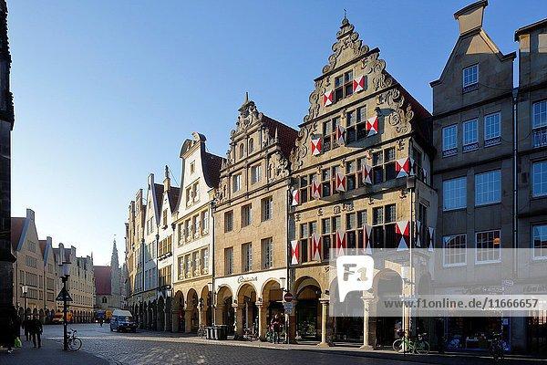 D-Muenster  Westphalia  Muensterland  North Rhine-Westphalia  NRW  Prinzipalmarkt  gabled houses  pediments  arcades.