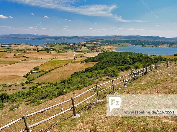Ebro River Reservoir seen from Hermitage or Our Lady of the Snows (Virgen de la Nieves) at Monegro village countryside. Campoo de Yuso region,  Cantabria autonomous community. Spain.