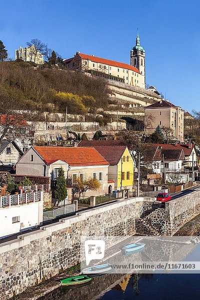 Melnik castle and church tower of St. Peter and Paul dominates the region at the confluence of the River Elbe and Vltava  Central Bohemia  Czech Republic  Europe.