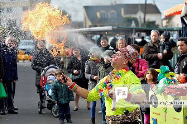 France Yvelines Sartrouville Street artist fire eater.