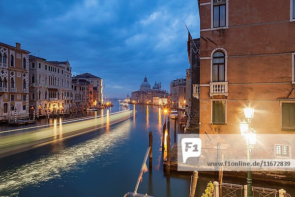 Dawn on Grand Canal in Venice  Italy.