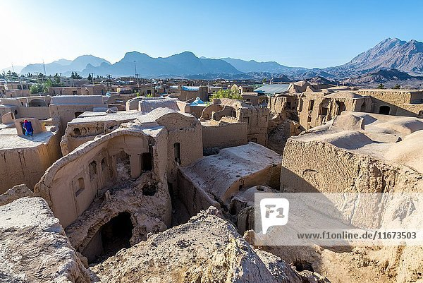 Roof of mud bricked buildings in ancient  abandoned part of Kharanaq village in Ardakan County  Yazd Province  Iran.