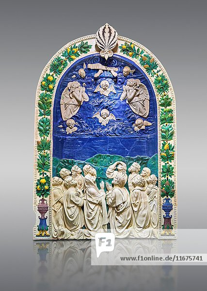 Enamelled terracotta relief panel of the Ascension of Christ made around 1490 for the Cordoni chapel in the church of Saint Agostino in the Citta de Castello  Umbria  Italy by Andrea della Robbia of Florence. The Louvre Museum  Paris.