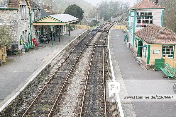 Corfe Castle Train Station  Swanage Railway  Dorset  England.