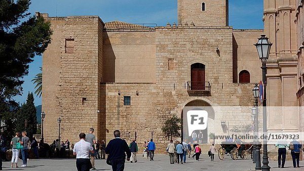 Entrance of the Almudaina Palace in Palma de Majorca  an old muslim palace. Spain  Europe.