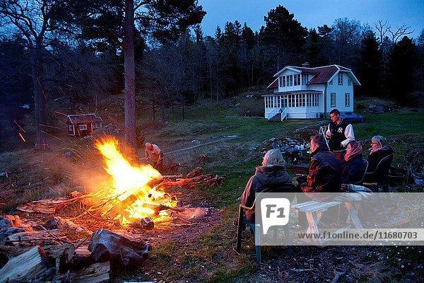 Walpurgis night with a bonfire  swedish archipelago.