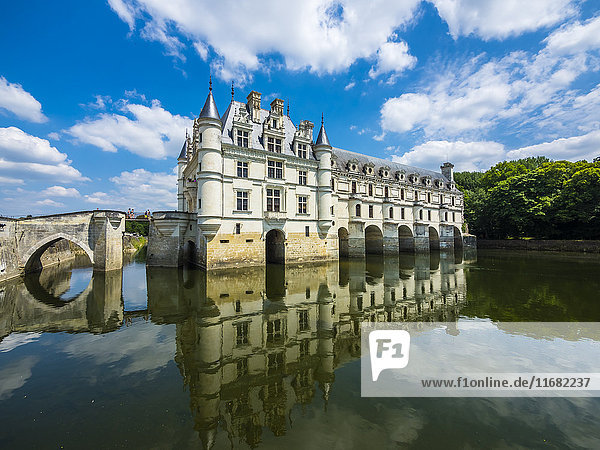 France  Chenonceaux  view to Chateau de Chenonceau with water reflection