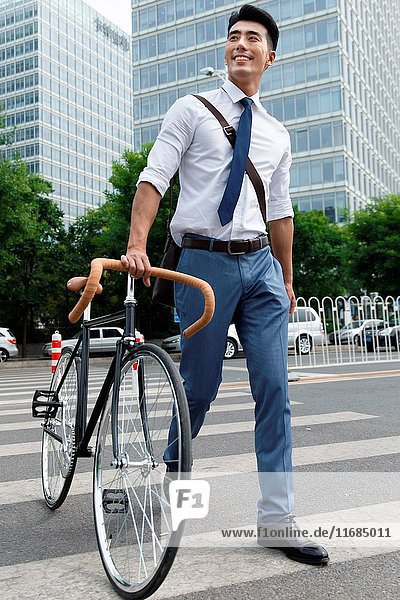 Young men go to work by bike