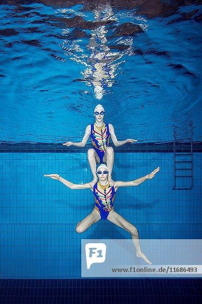 Underwater view of Synchronized Swimming  Nikolaev  Ukraine  Eastern Europe.