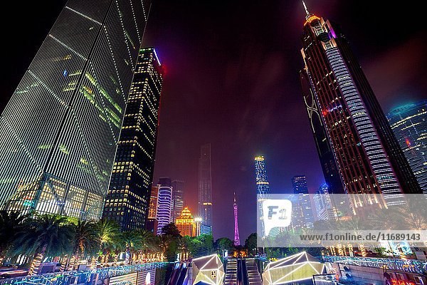 Night view of urban architecture in Guangzhou Guangdong Province China