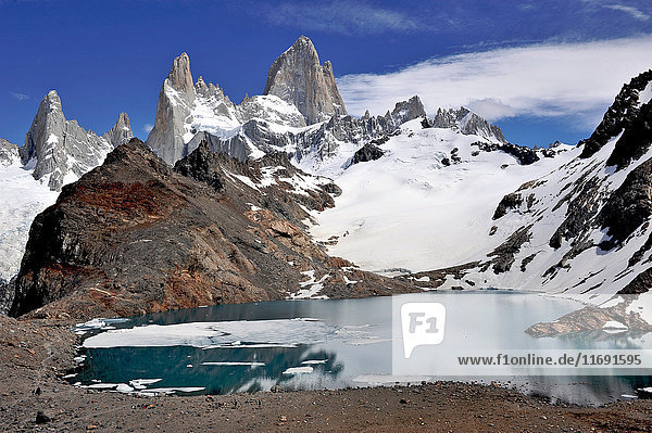 Monte Fitz Roy from the lookout in Los Glaciares National Park  El Chalten  Argentina