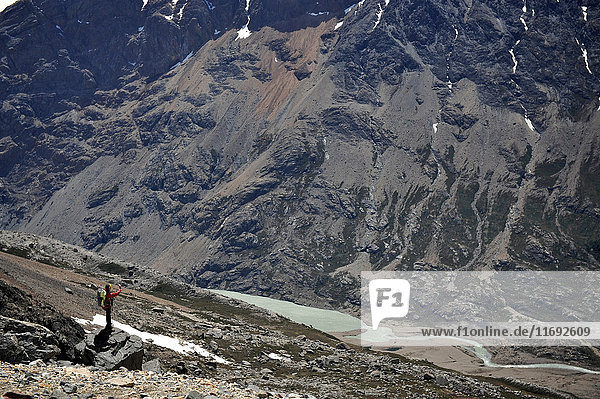 Woman with the landscape of Rio Electrico Valley  El Chalten  Argentina