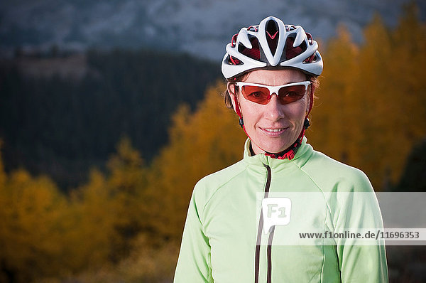 Mountain biker smiling outdoors
