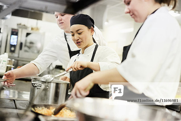 Male and female chefs cooking food in commercial kitchen