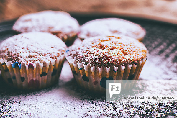Close up of cupcakes covered with powdered sugar