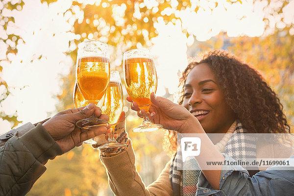 Freunde toasten Biergläser im Freien