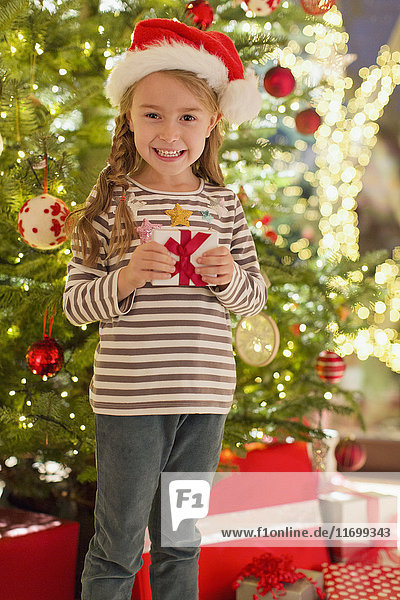 Portrait smiling girl in Santa hat holding gift in front of Christmas tree